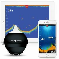 FishHunter Pro Wireless Portable Fish Finder 150ft Deep Tri-Frequency Boat/Shore