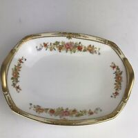 Vintage Nippon Hand Painted Floral Gold Rim Trinket/Candy Dish with Handles