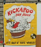 1965 It#x27;s Out of this World KickaPoo Joy Juice soda Advertising Sign 27 X 19.5