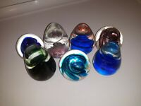 7 Lot Beautiful Glass Paperweights Egg & Round Shapes Swirl Patterns Gold Specks