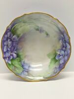 ANTIQUE: C. T. CARL TIELSCH GERMANY HAND PAINTED BOWL VIOLETS SIGNED