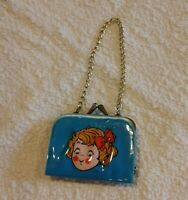 Campbells Soup Vintage Campbell Kids Girl VINYL METAL CHILD'S COIN PURSE + chain