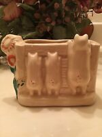 Vintage SHAWNEE Pottery THREE LITTLE PIGS PLANTER Looking Over Fence Yellow USA
