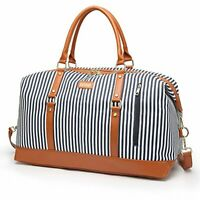 Overnight Bag for Women Canvas Weekend Travel Bag Ladies Duffle Tote Bags PU Lea