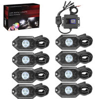 8Pcs RGB LED Rock Lights Offroad Music Wireless Bluetooth Control SUV Truck ATVs