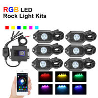 6PCS RGB LED Rock Lights Pods Offroad Music Neon Lamp ATV UTV Wireless Bluetooth