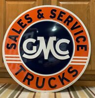 GMC Trucks Metal Sign Sales Service Garage Vintage Style Wall Decor Gas Oil