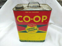 Vintage CO-OP Farmers Union Central Exchange 2 gallon metal oil can