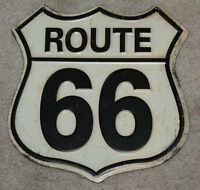 Route 66 Embossed Metal SIGN Rustic Distressed Look MAN CAVE DECOR  DAD GIFT