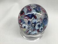 ANTIQUE NEW ENGLAND GLASS CO (NEGC) PAPERWEIGHT SCRAMBLE END OF DAY BLUE WHITE