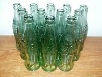 12 Vintage Coca-Cola Green Glass Hobble Skirt Bottle Lot from Knoxville, TN