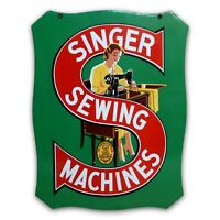 Vintage 1930's Singer Sewing Machine Porcelain Metal 2-Sided Sign EXCELLENT COND