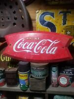 vintage old metal embossed coke coca cola sign gas station general store fishing