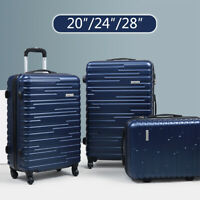 3 Piece Luggage Set Travel Suitcase Blue ABS+PC Nested Spinner w Cover
