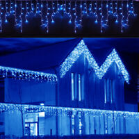 CHRISTMAS LED BLUE SNOWING ICICLE LAMP BRIGHT PARTY WEDDING XMAS OUTDOOR LIGHTS