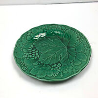 Edge Malkin Plate Green Grape Vine Leaf 19th Victorian Wardle Majolica 9 Inch