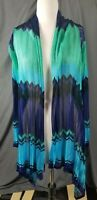 Hale Bob Womens Cardigan Size Large Multi color Long Sleeve Open Front