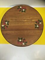 """Vintage Stained and Painted Wooden Lazy Susan 12"""" Round Spinning Turntable MAINE"""