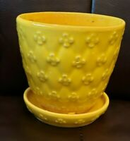 VTG Yellow Shawnee USA Quilted Daisy Flower Pot Planter attached saucer # 454