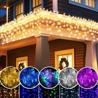 US LED Christmas Fairy Icicle Home Curtain Lights Lamp Xmas Party Indoor Outdoor
