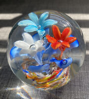 """Glass Paperweight 2 1/2"""" X 2 1/2"""" 3 Flowers W Controlled Bubbles On Swirl Base"""