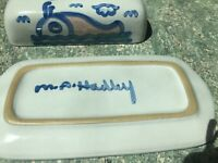 VINTAGE M. A. HADLEY POTTERY COVERED BUTTER DISH in Whale design. Signed.