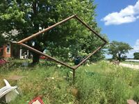 antique DX or Sinclair? gas station sign rusted pipe frame [ 10' 3