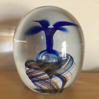 Signed Large Art Glass Paperweight Suspended Bubble Blue Floral Design