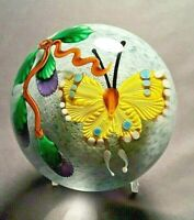 Maynauel Ward Yellow Butterfly with Purple Flower Buds Glass Paperweight