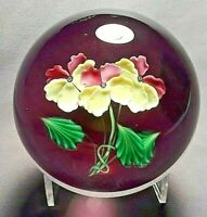 Daniel Salazar Three Yellow and Pink Pansies on a Wine Field Glass Paperweight