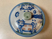 MA Hadley Pottery 8 inch diameter covered Casserole Dish Featuring Cow and Pig