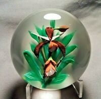 Beautiful St. Louis Spider Orchid on White Field Art Glass Paperweight