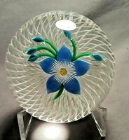 Attractive Perthshire Blue Flower upon Double Spiral Field Glass Paperweight