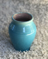 Vintage Pisgah Forest Pottery Teal Turquoise Outside and Pink Inside Vase 5