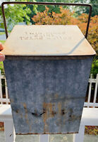 Vintage Twin Pines Detroit Dairy Galvanized Steel Porch Milk Box Embossed Crate