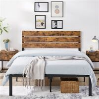 Full Queen Size Metal Platform Bed Frame w Wooden Headboard Rustic Country Style