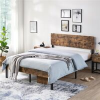 Full Queen Size Kid Metal Platform Bed Frame with Wooden Headboard Vintage Style