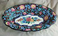 Large 14quot; Enameled French Longwy Pottery Centerpiece Oval Bowl c. 1910