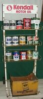 MOTOR OIL CAN CURB SIDE DISPLAY CART 1950 60s KENDALL MOTOR OIL SIGN GAS STATION