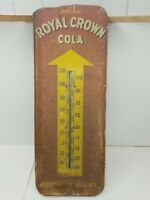 Original Vintage 1950s Donasco Royal Crown RC Cola Thermometer Sign 26x10in