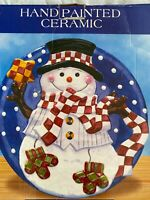 Happy Snowman Holiday Christmas Platter Cookie Plate Tray   Ceramic 12quot;