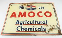 RARE Vintage Amoco Oil Company Metal Sign Agricultural Chemicals