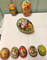 VINTAGE ANTIQUE W GERMAN GOLD PAPER MACHE EGGS MURRAY ALLEN TIN CANDY CONTAINERS