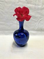 Beautiful Cobalt Blue Crystalline Pottery Bud Vase Signed Studio Art Pottery