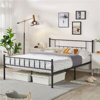 Twin Full Queen Metal Bed Frame with Headboard Mattress Foundation Black White
