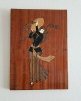 VINTAGE MINIATURE LACQUER PAITING ON WOOD Dancing Girl Theme $70.00