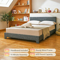 Twin Full Queen Size Bed Frame w Headboard Upholstered Platform Bed Frame