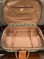 ITALIAN VINTAGE SUITCASE LUGGAGE Leather Tapestry Brass Portico d#x27;Italia RARE
