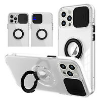 For iPhone 13 Pro Max 12 11 XS XR Clear Case Camera Protection Ring Holder Cover