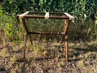 Vintage Old Luggage Stand Suitcase Rack Folding Wood With Tapestry Straps